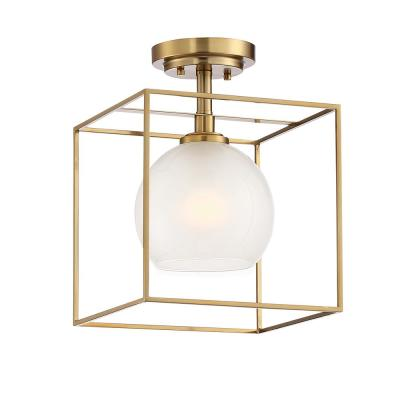 Cowen 10 in. 1-Light Brushed Gold Interior Semi Flush Mount with Clear Polished Etched Glass Shade