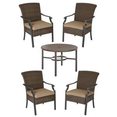 Harper Creek Brown 5-Piece Steel Outdoor Patio Dining Set with CushionGuard Toffee Tan Cushions