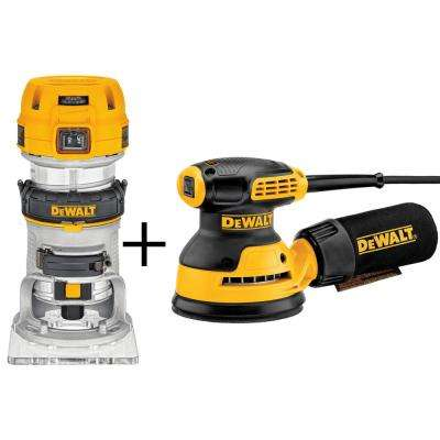 1.25 HP Variable Speed Compact Router with Bonus 3 Amp 5 in. Random Orbital Sander
