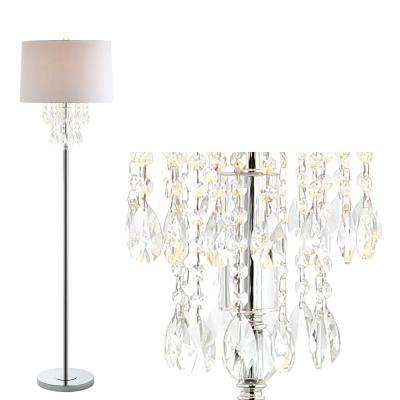 Abigail 61 in. Clear/Chrome Crystal/Metal Floor Lamp
