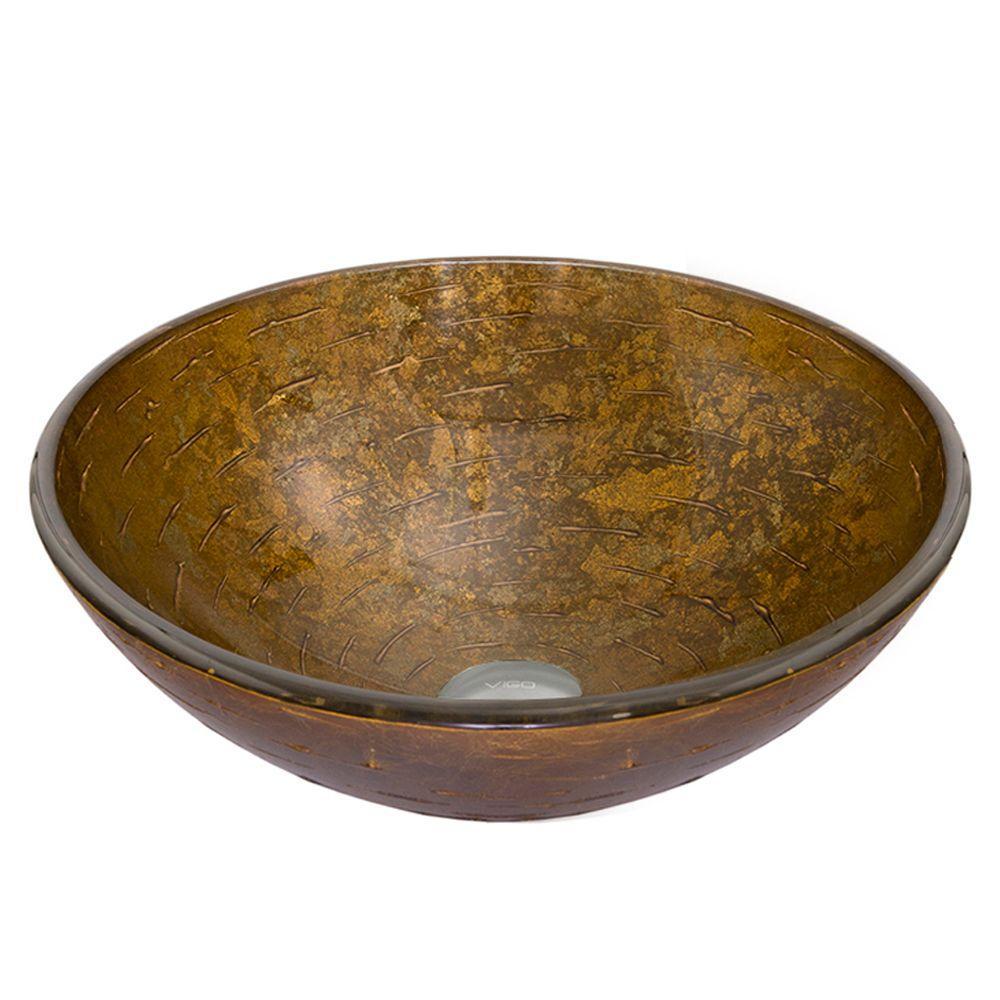VIGO Vessel Sink in Textured Copper in Brown Tones
