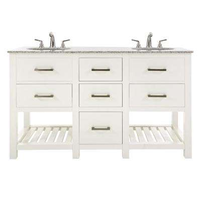 Fraser 60 in. W Double Vanity in White with Granite Vanity Top in Grey with White Sink