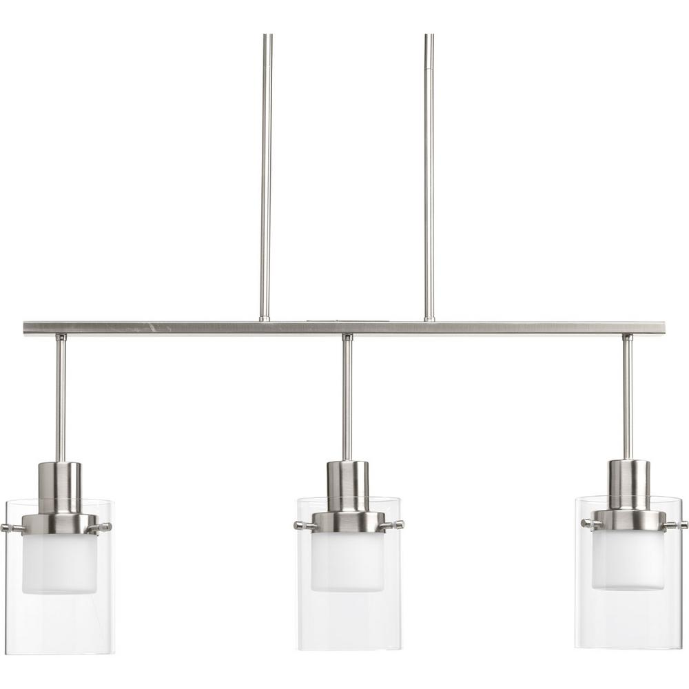 Moderna Collection 9-Watt Brushed Nickel Integrated LED Chandelier with Glass
