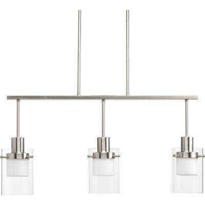 Moderna Collection 9-Watt Brushed Nickel Integrated LED Chandelier with Glass Shade
