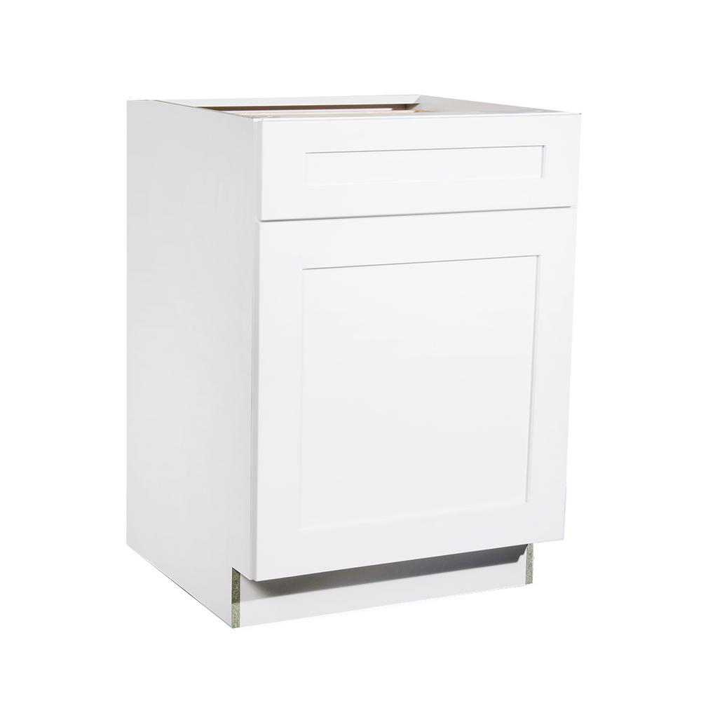 Krosswood Doors Ready To Assemble 18x34.5x23.7 In. Shaker 1 Drawer 1 Door Base  Cabinet In White With Soft Close PC WS B18   The Home Depot