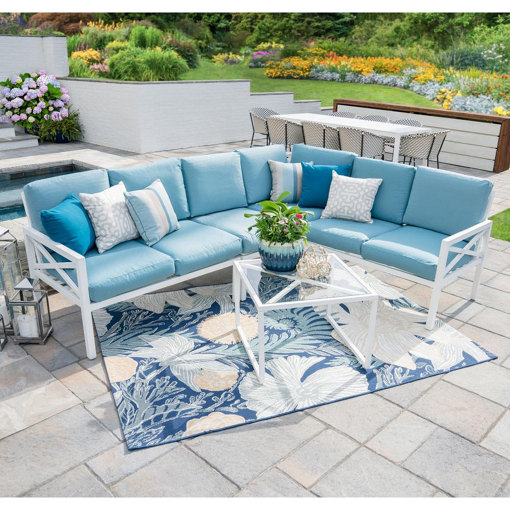 Leisure Made Blakely White 5 Piece Aluminum Outdoor Sectional Set With Spa  Blue Cushions