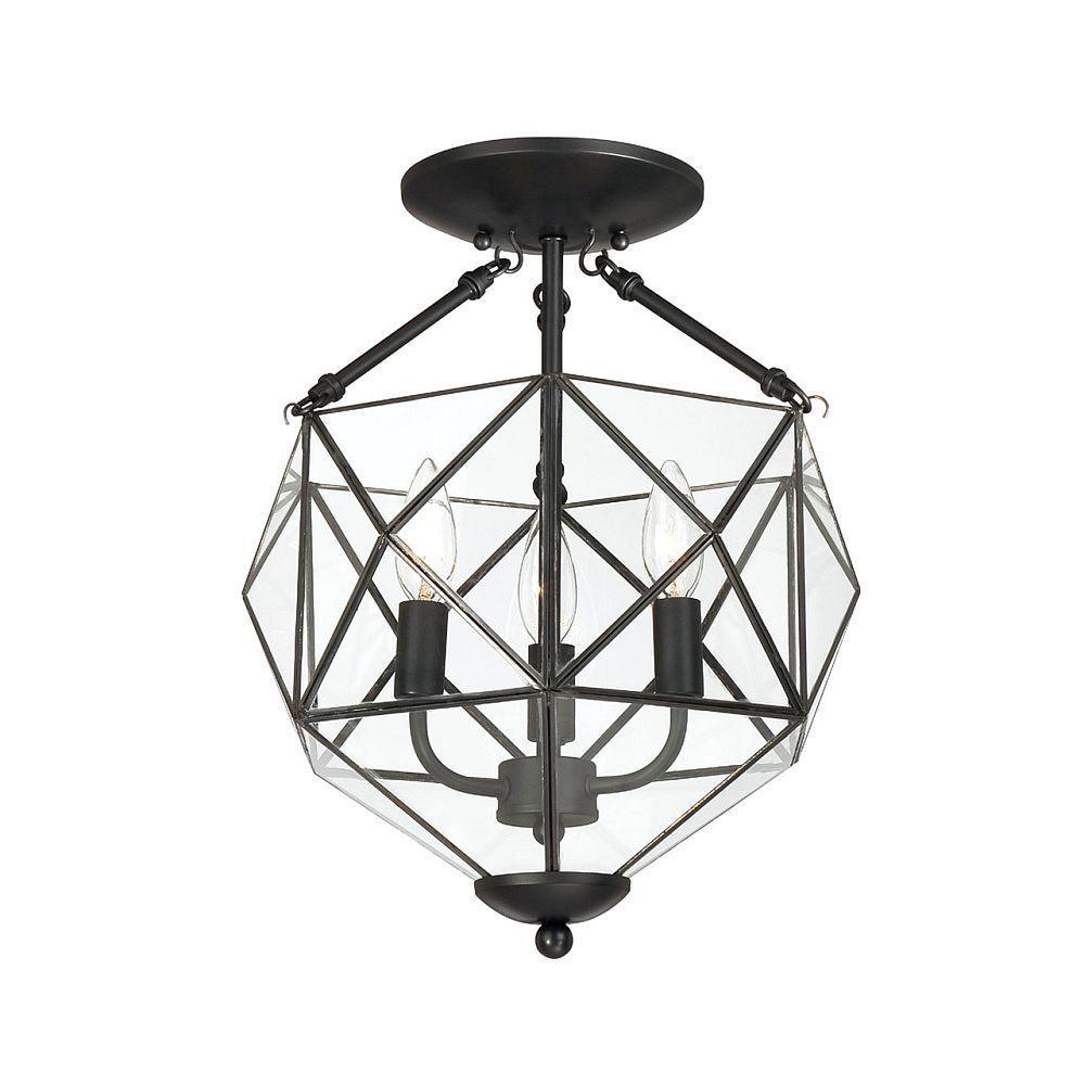 Hampton Bay Grayton 3-Light Black Faceted Glass Semi-Flush Mount