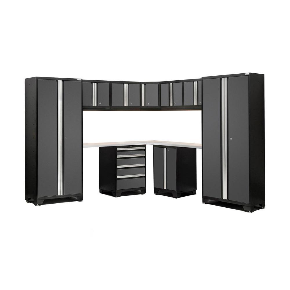 Bold 3 Series 77 in. H x 99 in. W x 99 in. D Welded Steel Stainless Steel Worktop Corner Cabinet Set in Gray (12-Piece)