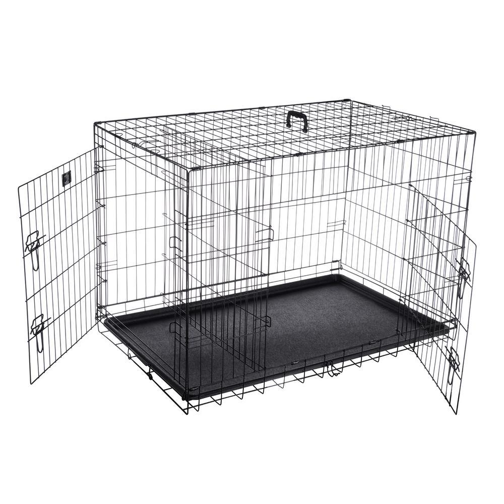 42 in. L x 27 in. W 2-Door Folding Pet Crate