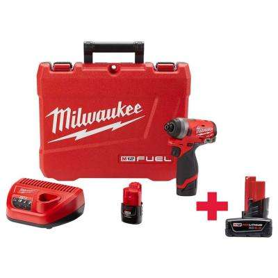 M12 FUEL 12-Volt Lithium-Ion Brushless Cordless 1/4 in. Hex Impact Driver Kit W/ Free M12 6.0Ah Battery