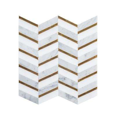 Dreamcicle White Chevron 11.75 in. x 12.75 in. x 8mm Natural Stone/Metal Mosaic Wall/Floor Tile