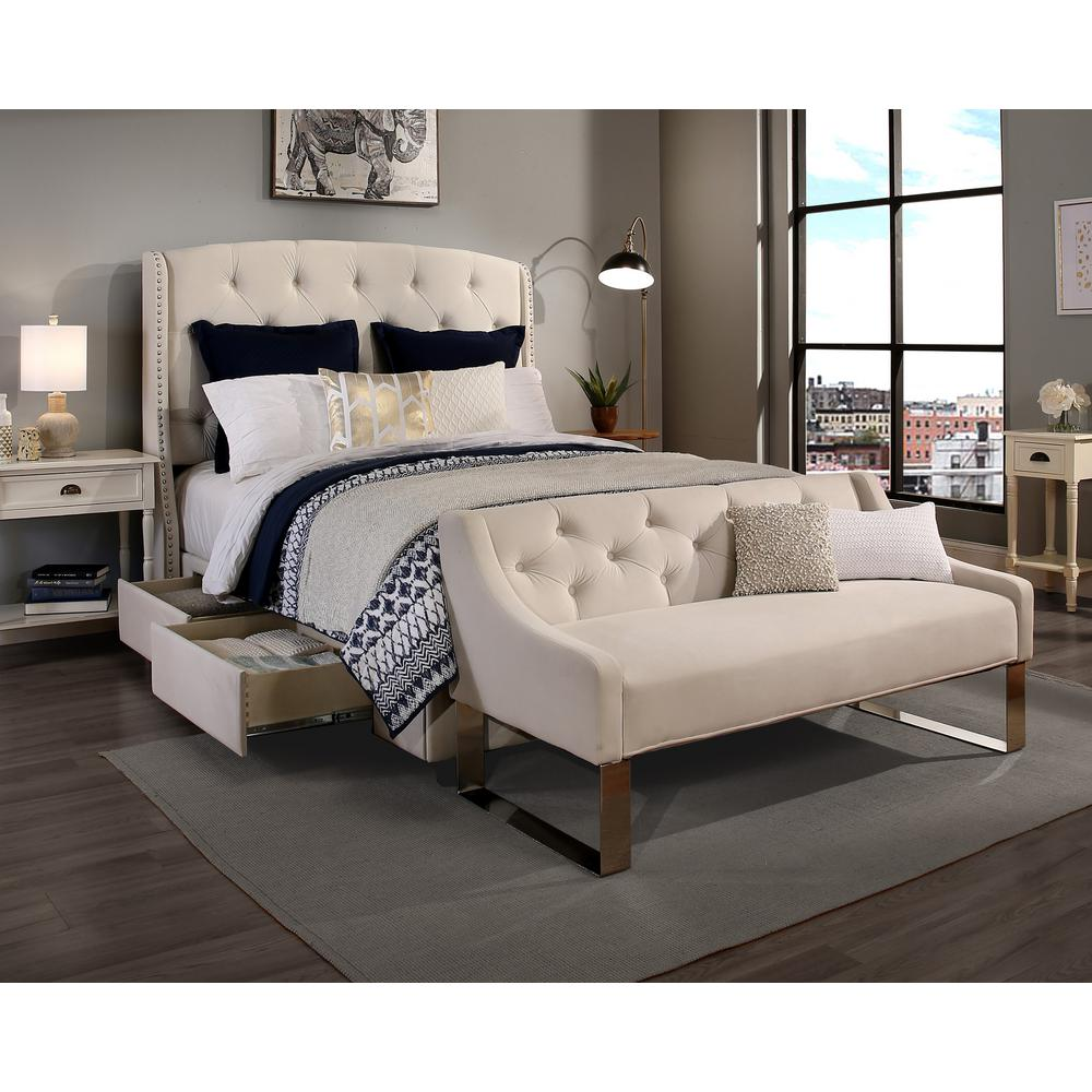 Elegant Null Peyton Ivory Queen Upholstered Bed
