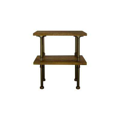 Corvallis Farmhouse Industrial, Brown Pipe Side/End Table Bedroom Night Stand 2-Shelf-Metal-Reclaimed/Aged Wood
