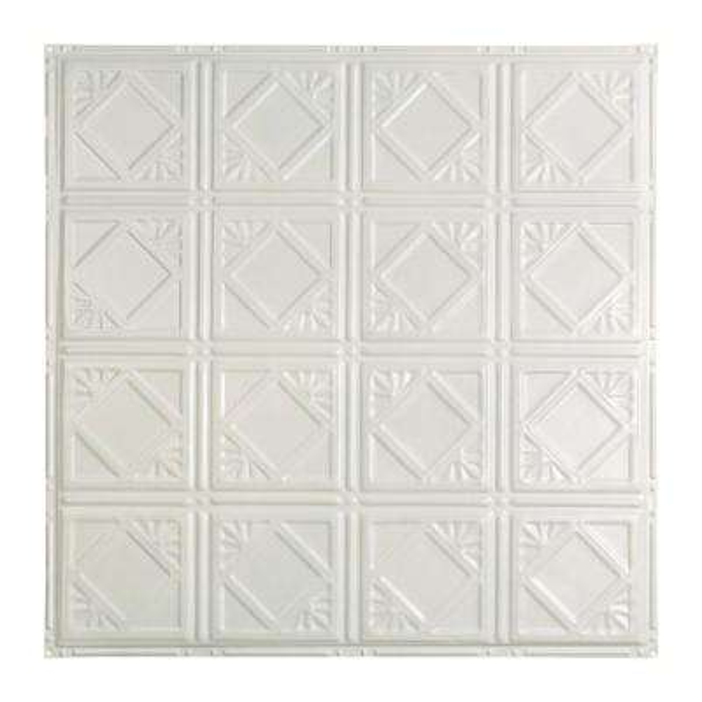 Ludington 2 ft. x 2 ft. Nail-up Tin Ceiling Tile in Gloss White