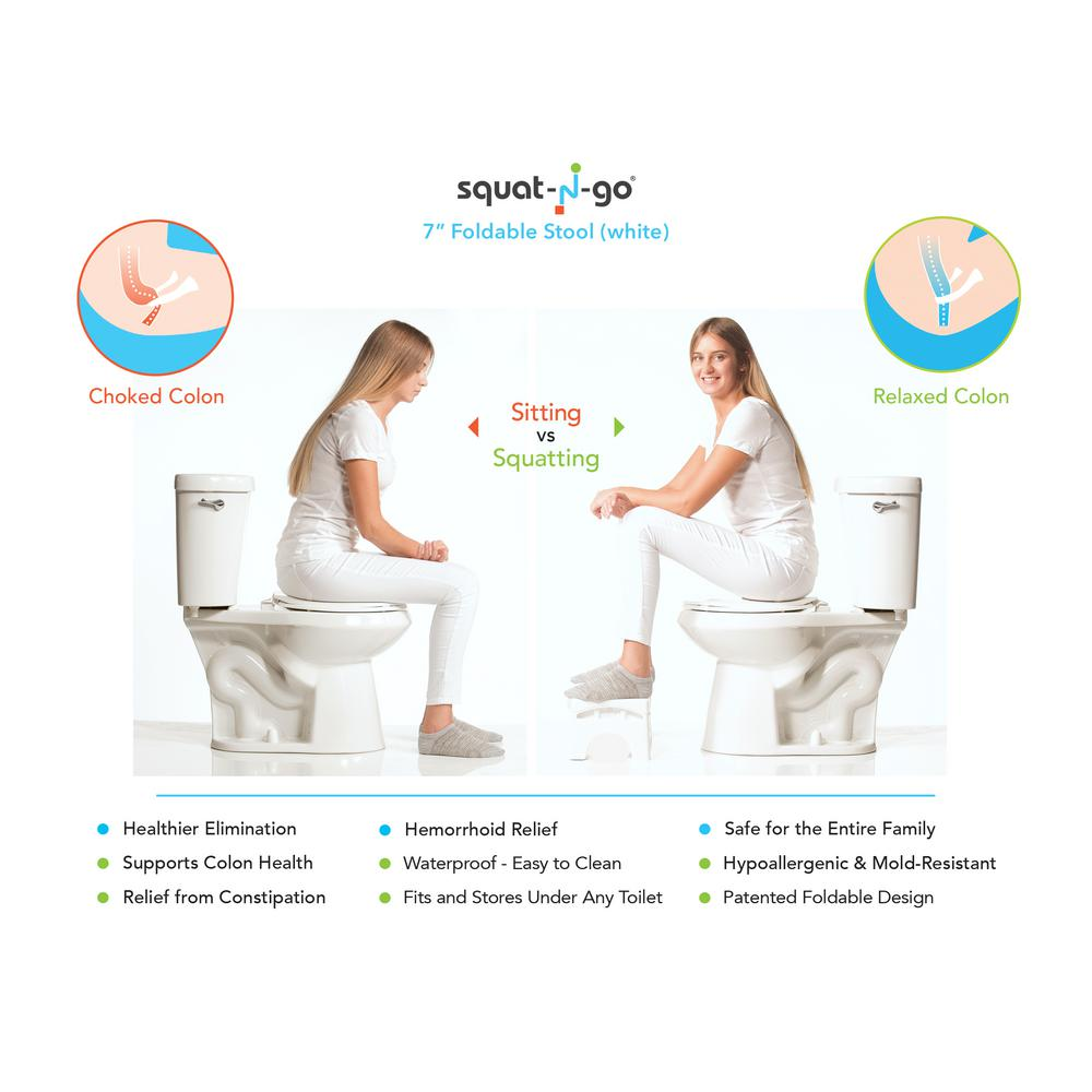 Superb Squat N Go 7 In Foldable Squatting Toilet Stool In White Squirreltailoven Fun Painted Chair Ideas Images Squirreltailovenorg