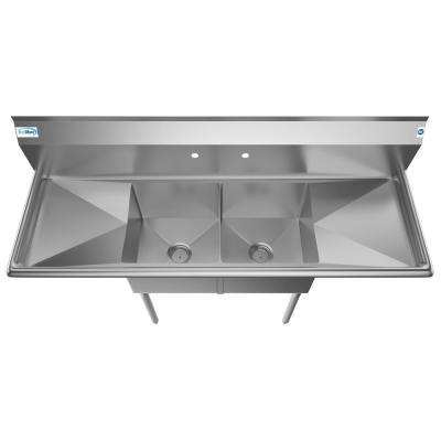 Freestanding Stainless Steel 60 in. 2-Hole Double Bowl Commercial Kitchen Sink