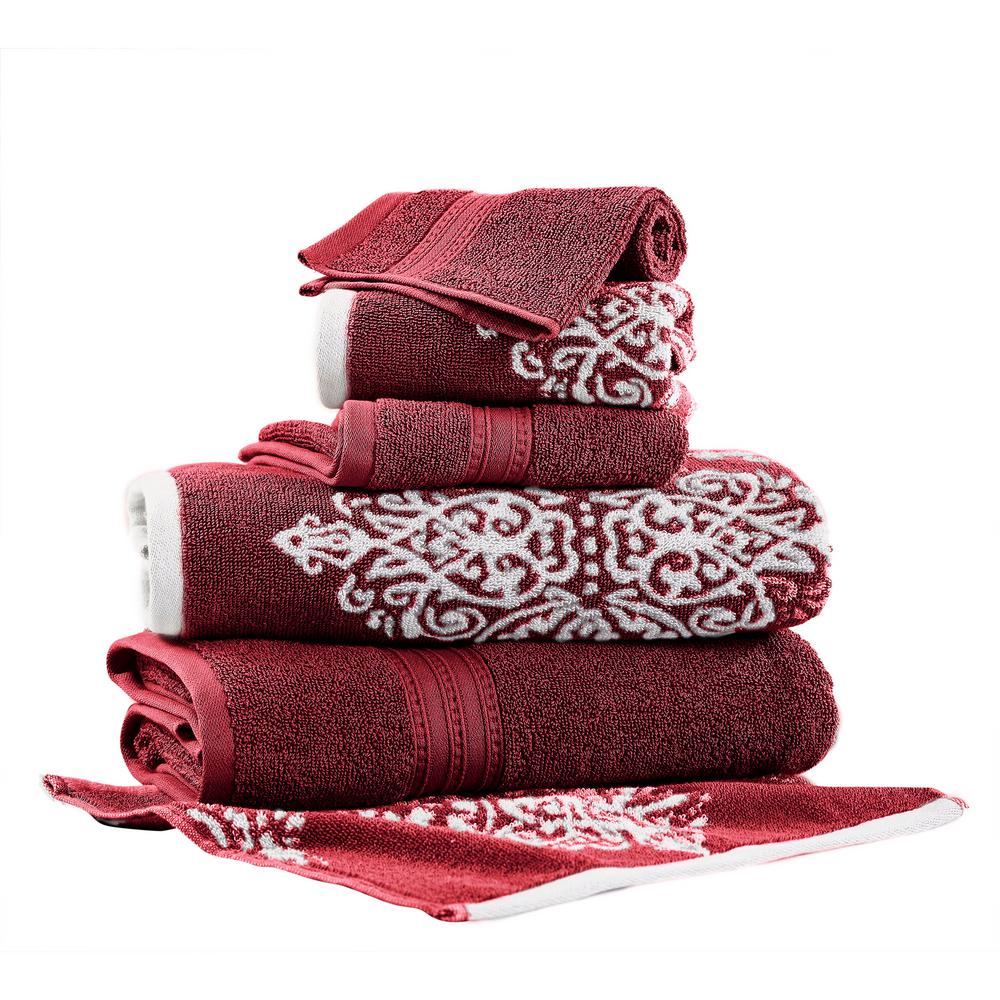 Allure Artesia Damask 6-Piece Cotton Bath Towel Set in Red ...