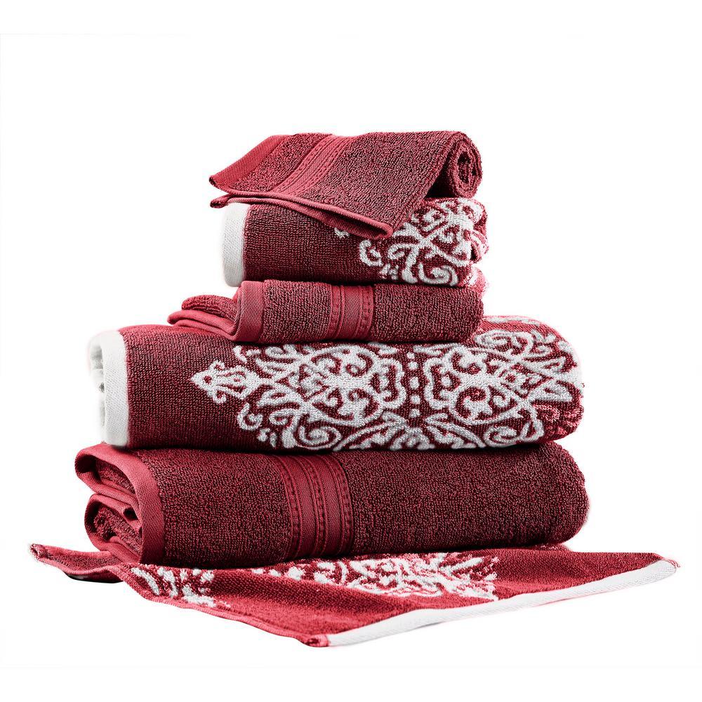 Artesia Damask 6-Piece Cotton Bath Towel Set in Red