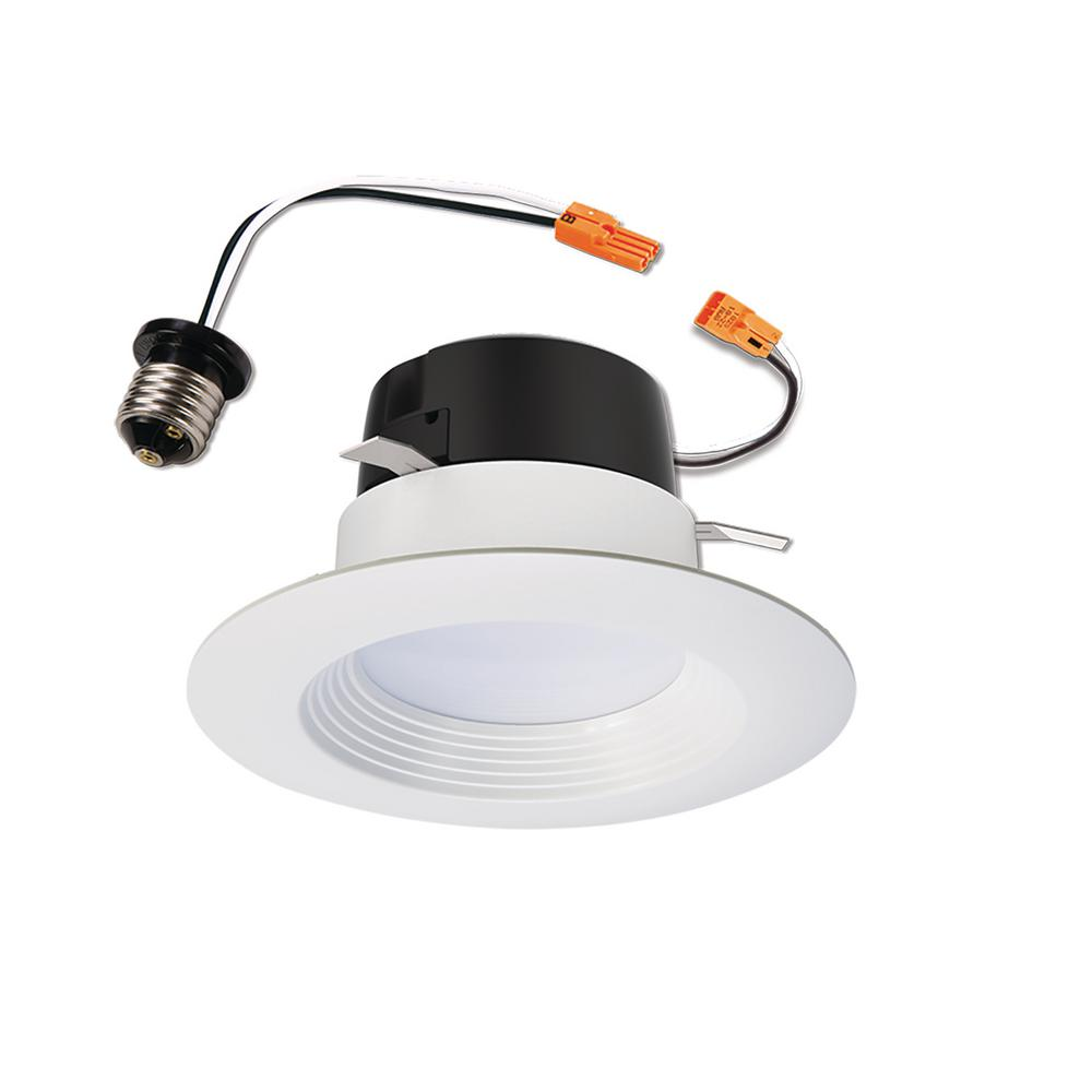 Halo lt 4 in white integrated led recessed ceiling light fixture halo lt 4 in white integrated led recessed ceiling light fixture retrofit downlight trim with 90 cri 3000k soft white lt460wh6930r the home depot aloadofball Images