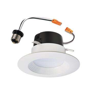 LT 4 in. White Integrated LED Recessed Ceiling Light Fixture Retrofit Downlight Trim with 90 CRI, 3000K Soft White