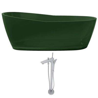Ember 65.6 in. Man-Made Stone Slipper Flatbottom Non-Whirlpool Bathtub in Emerald Green and Kase Faucet in Chrome