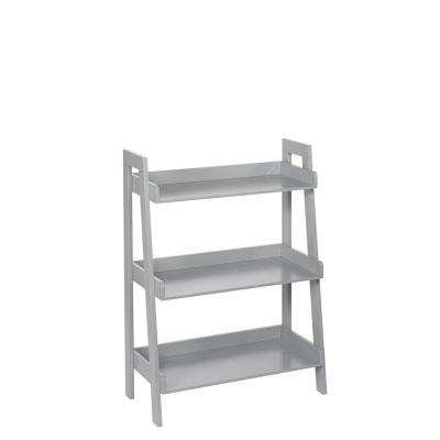 24 in. x 32.5 in. H 3-Tier Ladder Shelf in Gray