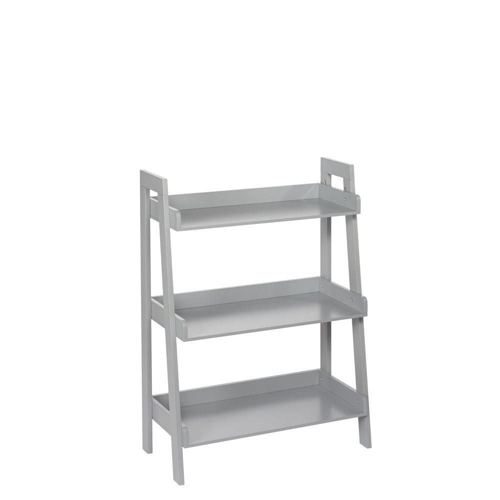 Brand new RiverRidge Kids 24 in. x 32.5 in. H 3-Tier Ladder Shelf in Gray-02  WL67