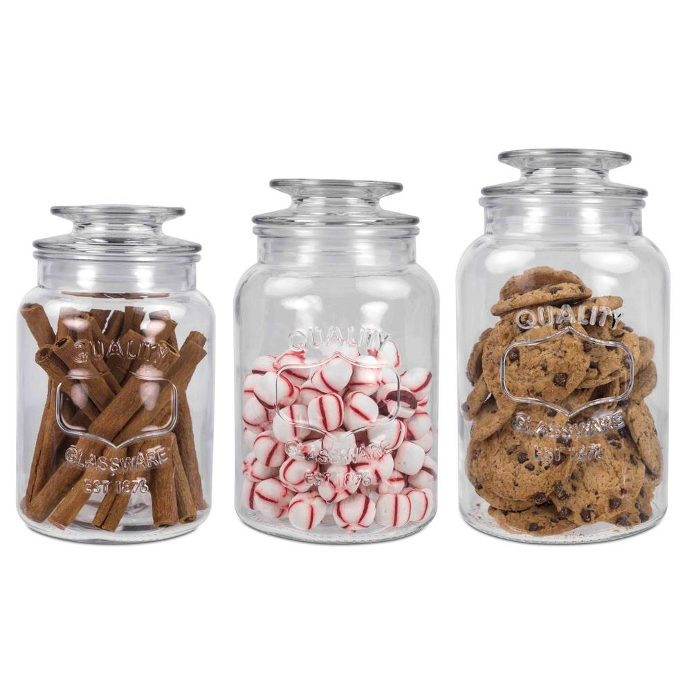 Home Basics 35 Oz 45 Oz And 53 Oz Glass Canister Set 3 Piece