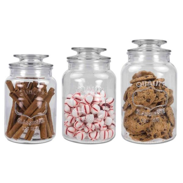 Home Basics 35 oz., 45 oz. and 53 oz. Glass Canister