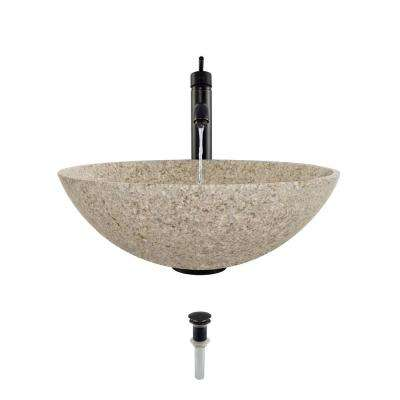 Stone Vessel Sink in Honed Basalt Tan Granite with 718 Faucet and Pop-Up Drain in Antique Bronze