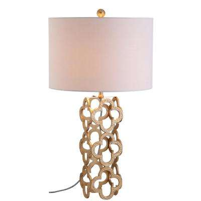 Oliver 26.5 in. Gold Metal Quatrefoil Table Lamp