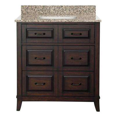 Bramerton 31 in. W Bath Vanity in Dark Espresso with Granite Vanity Top in Mohave Beige