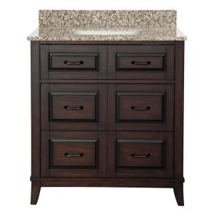 Bramerton 31 inch W Bath Vanity in Dark Espresso with Granite Vanity Top in Mohave Beige by