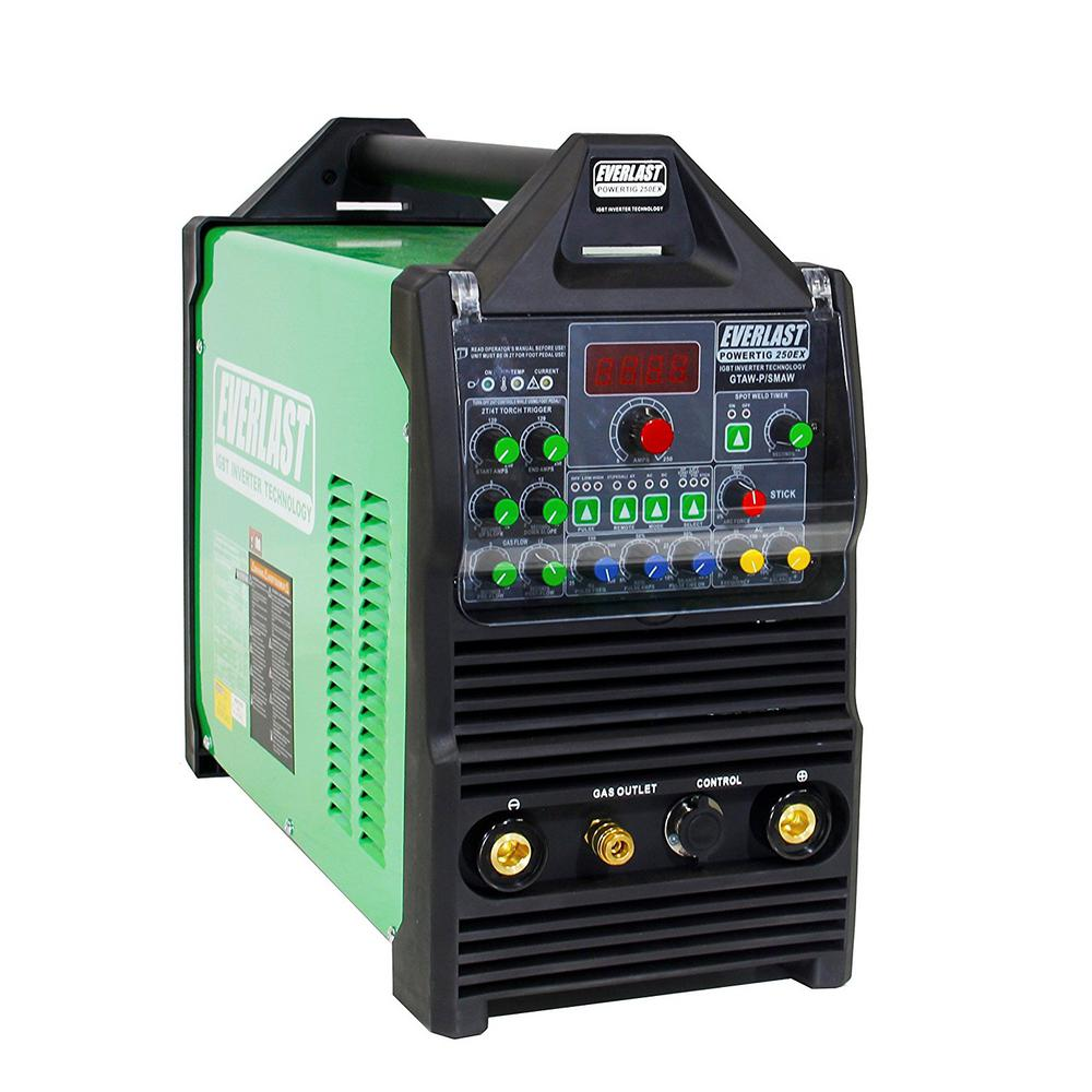 Everlast 250 Amp. PowerTIG 250EX IGBT Digital Inverter AC/DC Stick/TIG Welder with High Frequency and Lift TIG Start, 240V