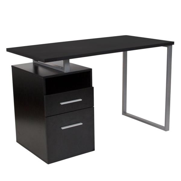 Flash Furniture Harwood Dark Ash Wood Grain Computer Desk with 2-Drawers