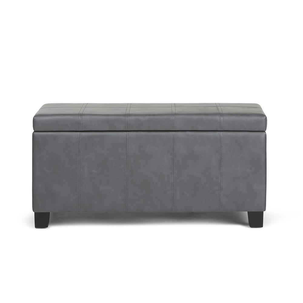 Simpli Home Dover 36 in. Contemporary Storage Ottoman in Stone Grey