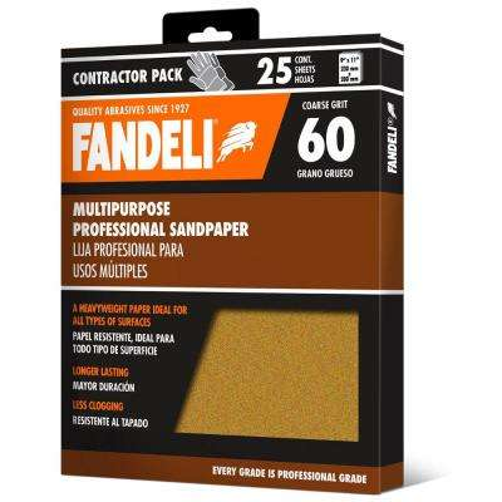 9 in. x 11 in. 60 Grit Coarse Premium Aluminum Oxide Sandpaper (25-Pack)