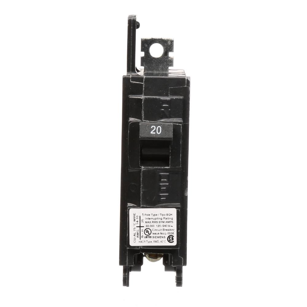 20 Amp 1-Pole BQH 22 kA Lug-In/Lug-Out Circuit Breaker