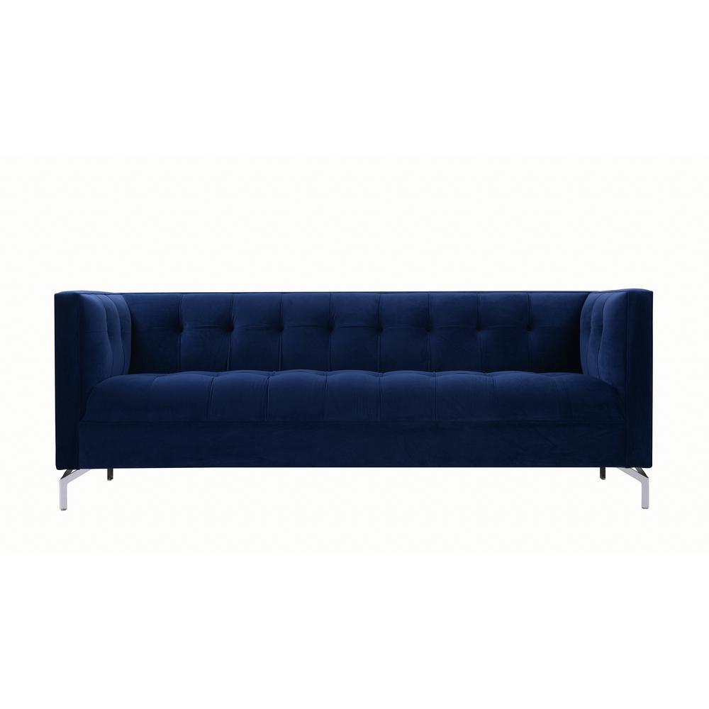 Jackson 84 in. Navy Blue Velvet 3-Seater Tuxedo Sofa with Square Arms