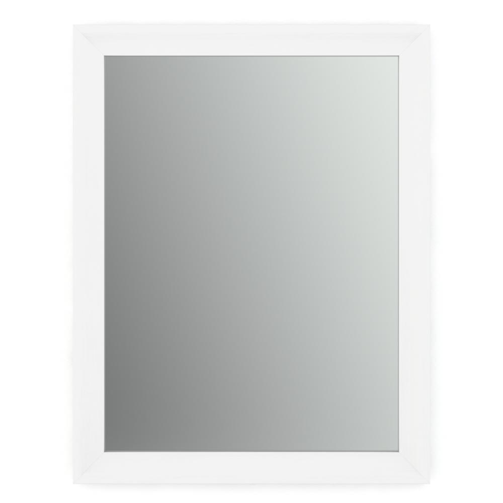 28 in. W x 36 in. H (M1) Framed Rectangular Standard Glass Bathroom Vanity Mirror in Matte White