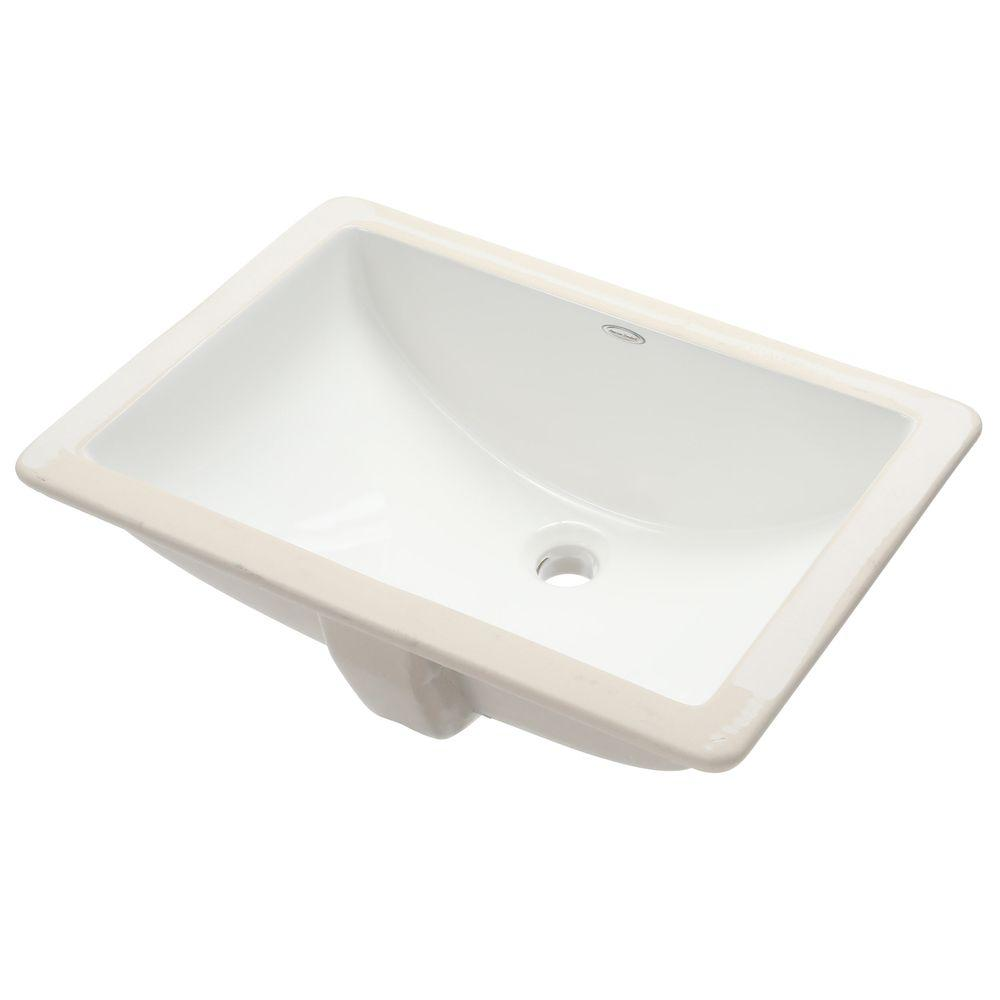 American Standard Studio Rectangular Undermounted Bathroom Sink In White
