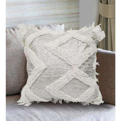 ELA Fringed Decorative Pillow Cover of Silver and White Cotton Yarn with Diamond Loop Pattern