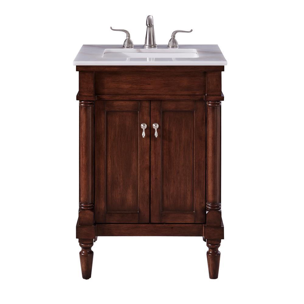 Wagner 24 in. Single Bathroom Vanity with 1-Shelf 2-Doors Marble Top Porcelain Sink in Walnut Finish