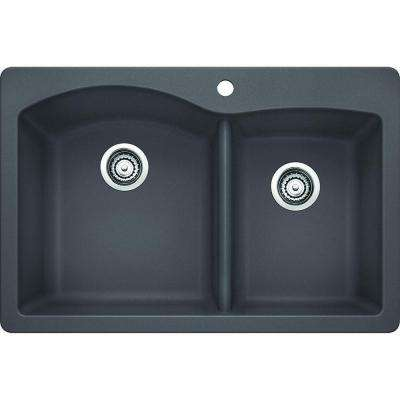 Diamond Dual Mount Granite Composite 33 in. 1-Hole 1-3/4 Double Basin Kitchen Sink in Cinder