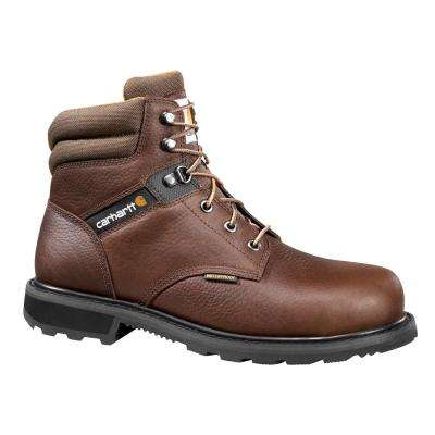 Traditional Men's 08.5M Brown Leather Lug Bottom Waterproof Steel Safety Toe 6-inch lace-up Work Boot CMW6264