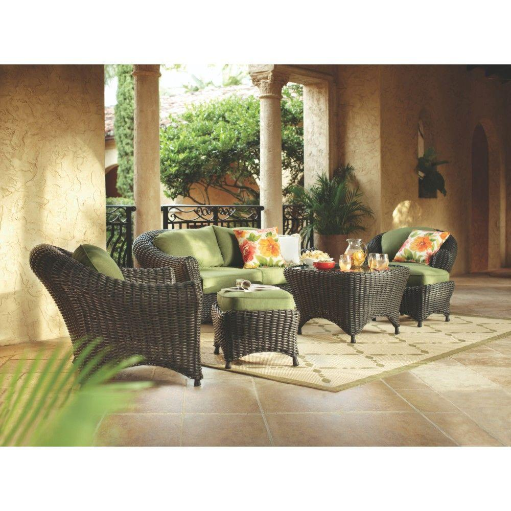 Martha Stewart Living Lake Adela Charcoal 6-Piece Patio Seating Set with Cilantro Cushions