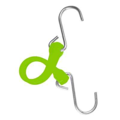 7 in. EZ-Stretch Polyurethane Bungee Strap with Galvanized S-Hooks (Overall Length: 12 in.) in Safety Green