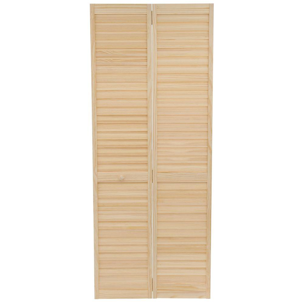 Kimberly Bay 32 in. x 80 in. 32 in. Plantation Louvered Solid Core Unfinished Wood Interior Closet Bi-Fold Door