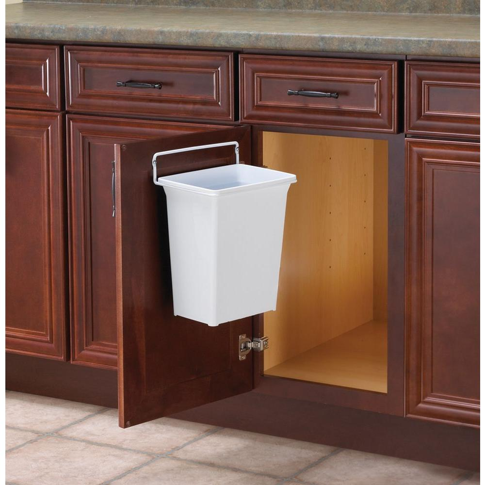 Real Solutions for Real Life 13 in. H x 10 in. W x 7 in. D Plastic  In-Cabinet Door Mount Trash Can in White