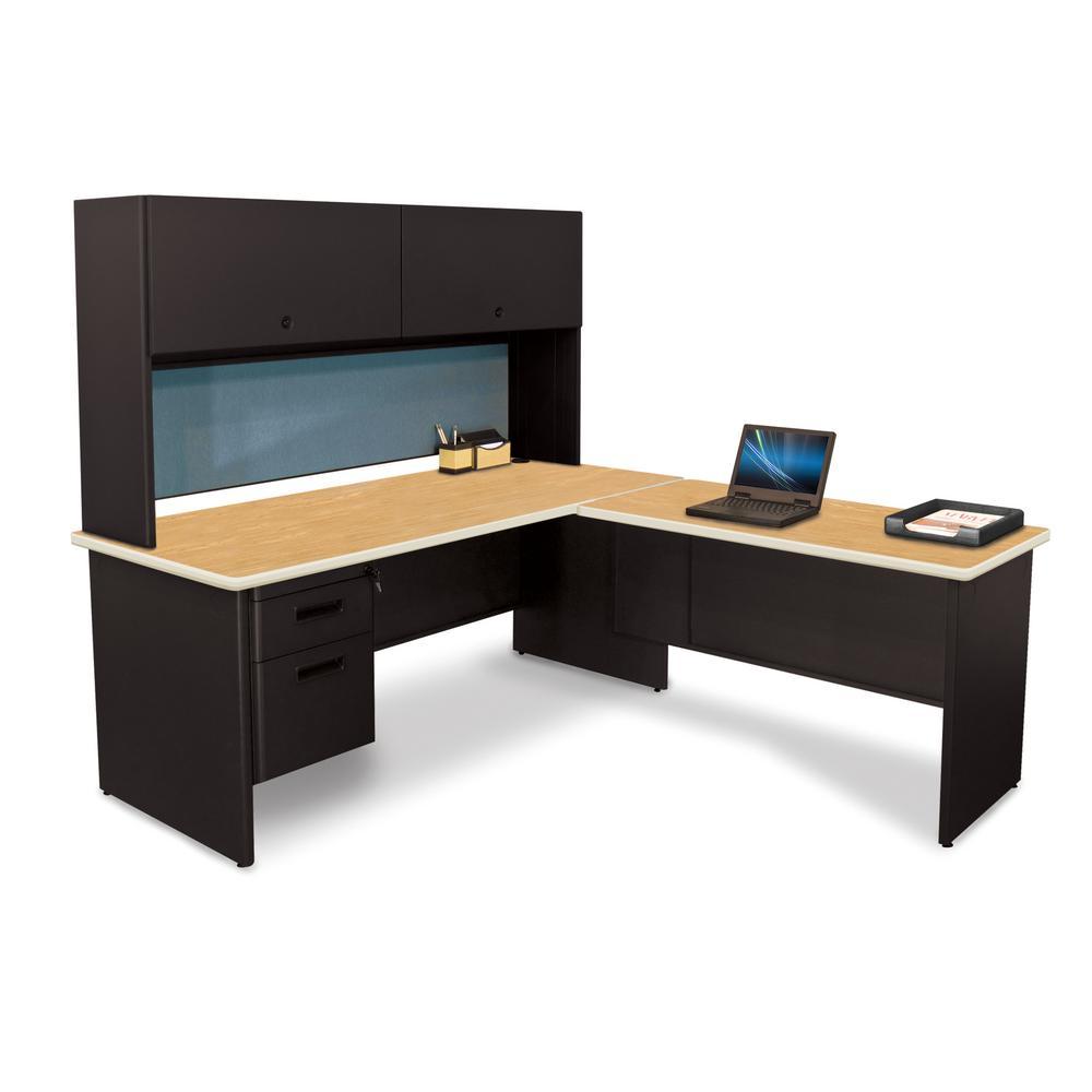 72 in. W x 78 in. D Black, Oak and Slate Desk with Return
